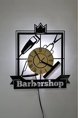 Barbershop Hairdresser Ornament Wall Light, Night Light Function, Original Home Interior Decor, Wall Lamp, Perfect Gift (White)