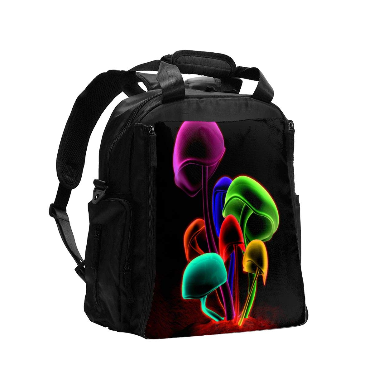 Psychedelic Colored Mushrooms Diaper Bag Backpack Travel Backpack Maternity Baby Changing Bags