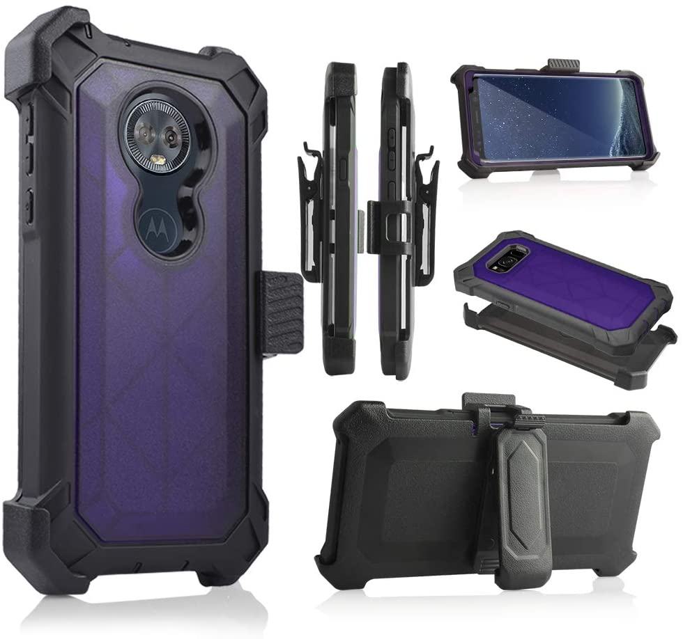 Compatible for Moto G6 Play Case, 6goodeals, Built-in [Screen Protector] Full Body Rugged Holster Armor Case [Belt Swivel Clip][Kickstand] for Motorola Moto G6 Play (2018 Release) (Purple)