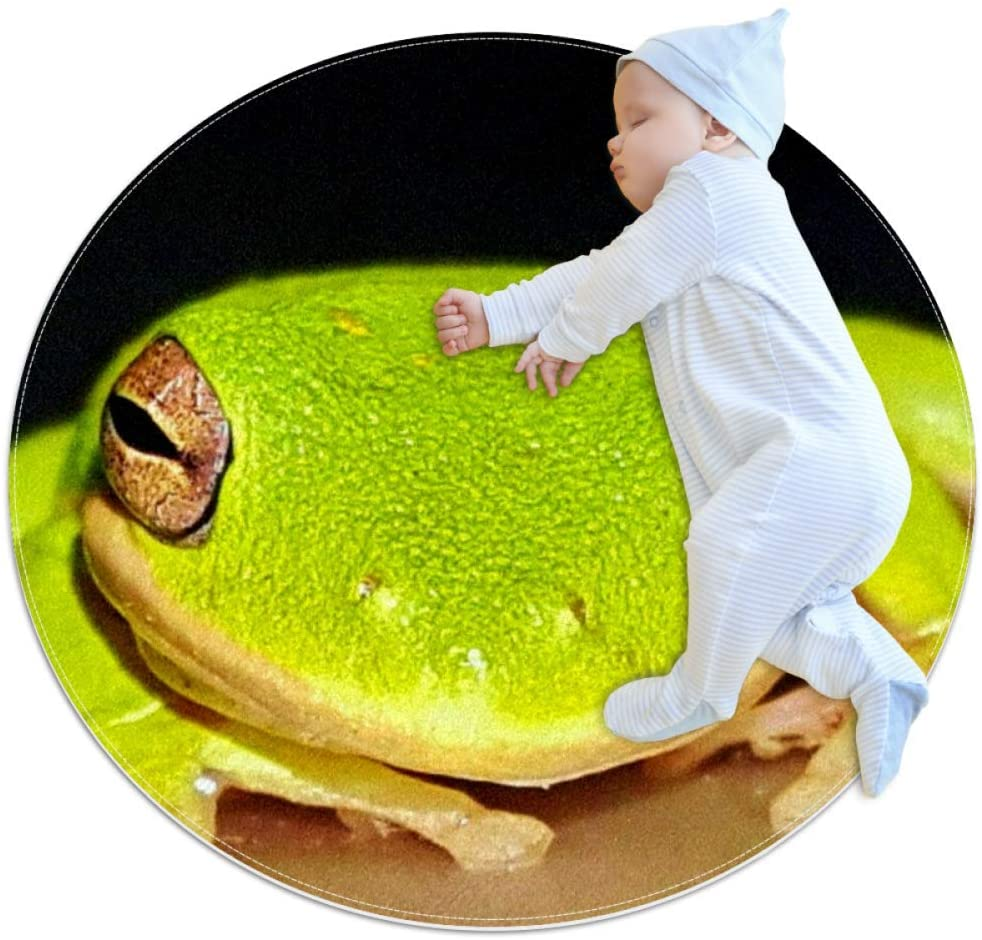 Sleeping Frog Round Area Rugs Circle Rugs Anti-Skid Soft for Kids Bedroom Baby Room Play Room Home Decoration Floot Mat Carpets and Nursery Rugs 39.4x39.4 inches