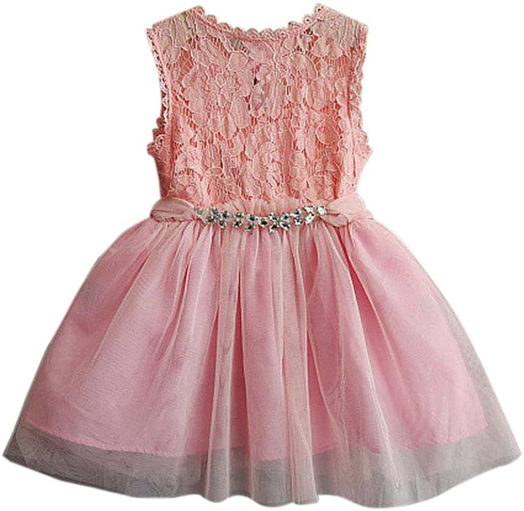 Baby Girl Lace Christening Gown Fabal Girl Gift Little Princess Tulle Tutu Dress (6T, Pink)