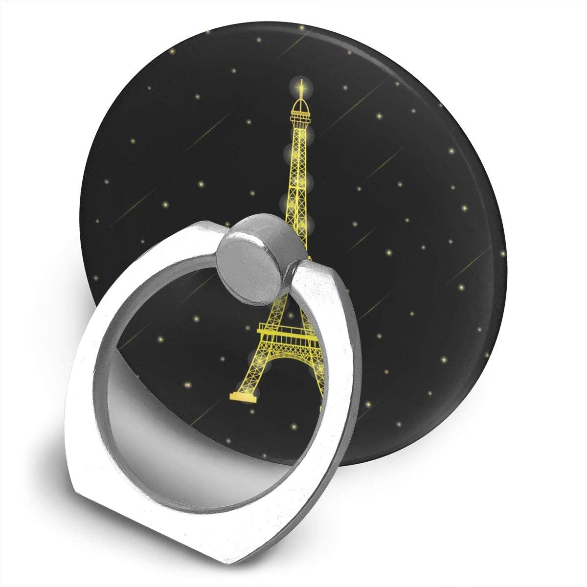 Cell Phone Ring Holder Stand Gloden Paris Eiffel Tower in Stars Falling Around,Black Adjustable 360°Rotation Round Universal Finger Grip Loop Kickstand with Silver Metal Phone Holder for Women Kids M