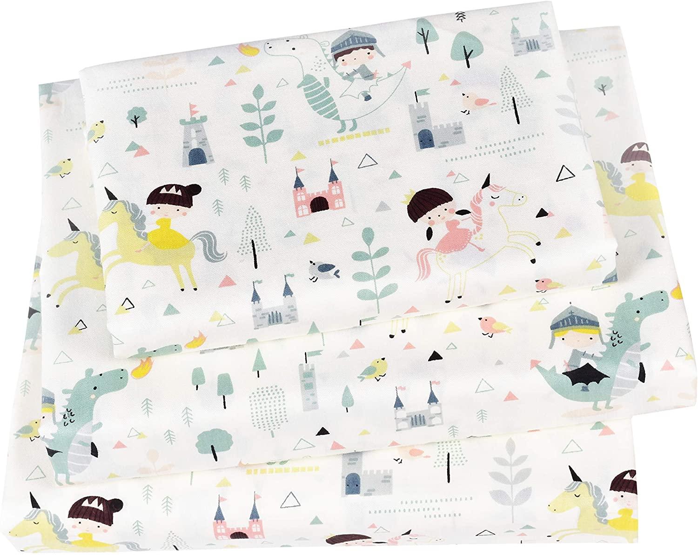J-pinno Knight Fire Dragon Princess Unicorn Twin Sheet Set for Kids Girl Toddler,100% Cotton, Flat Sheet + Fitted Sheet + Pillowcase Bedding Set