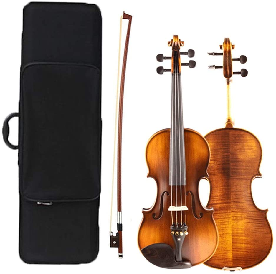 Acoustic Violin Violin Set Full Size Beginner Tiger Pattern Stringed Instrument Handmade Student Solid Wood Getting Started with Square Box Bow Rosin Shijinhao (Color : Brown-A, Size : 1/4)