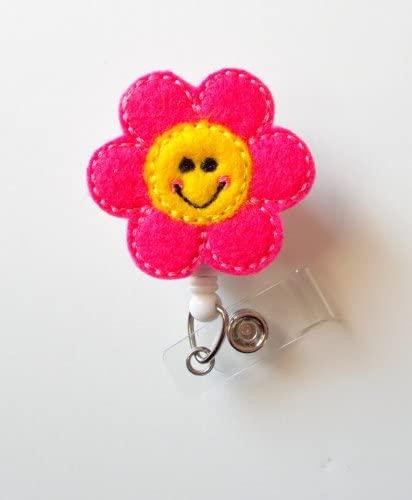 Happy Flower - Retractable ID Badge Reel - MD Badge Holder - Cute Badge Reel - Nurse Badge Holder - Nursing Badge Clip - Felt Badge - Teacher Badge Reel - RN Badge