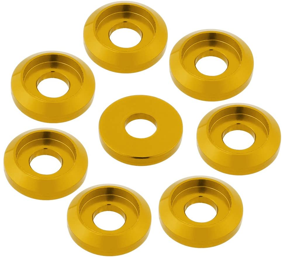 Hobbypark 8-Pack M3 Screws Washer Bolts Washers Cap Head Pan Head Aluminum Anodized Hardware CNC for RC Models Cars FPV Drone Aircraft Colourful (Yellow)