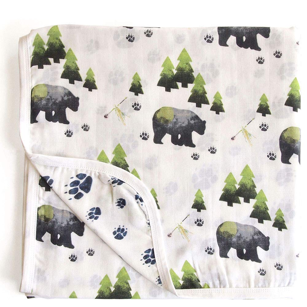 Aenne Baby Bear Boy Double Muslin Swaddle Blanket, Large 47 x 47 inch, 1 Pack, Woodland Todler Boy Blanket, Wrap Nursing Stroller Cover