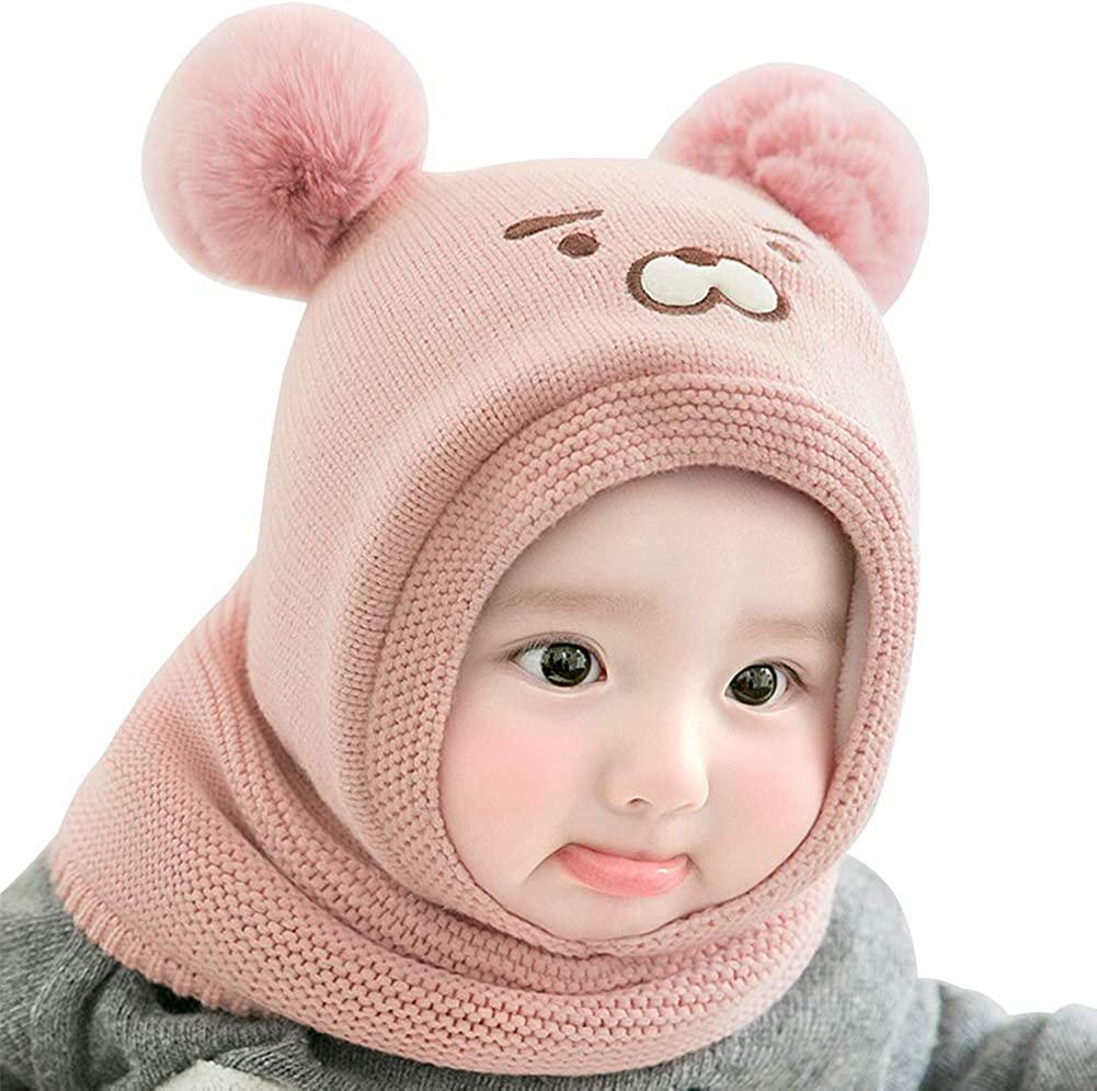 IMLECK Baby Girls Boys Winter Hat Scarf Earflap Hood Scarves Cute Bear Warm Beanie Cap