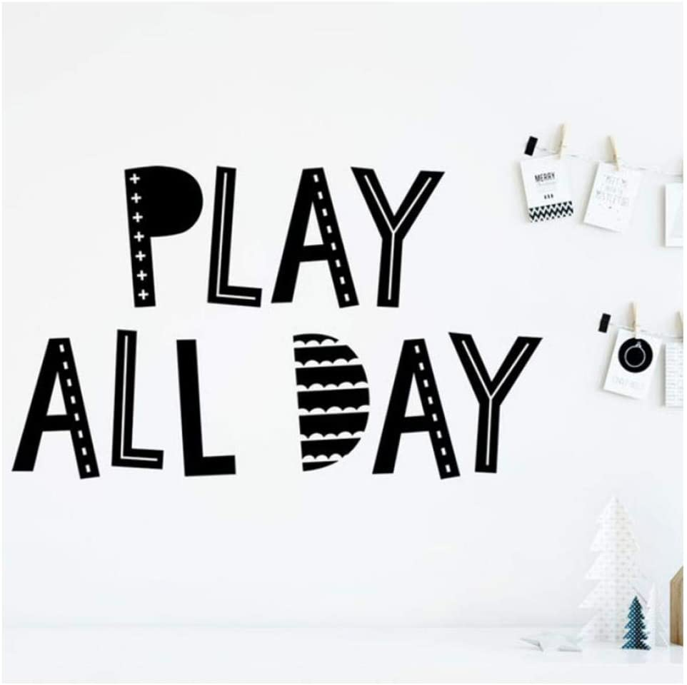 Diuangfoong Wall Stickers Play All Day Wall Decal Playroom Kids Bedroom Nursery Home Design Decoration Vinyl Wall Stickers Words Mural Art