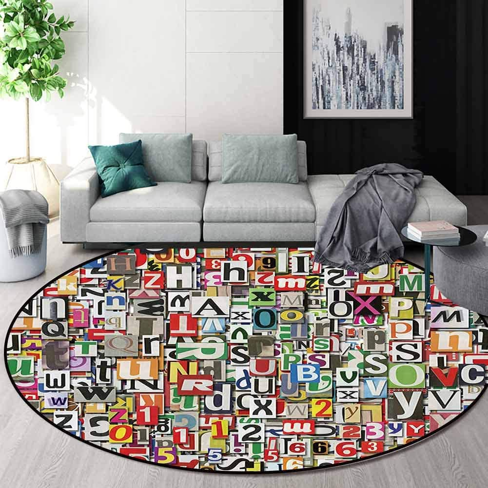 RUGSMAT Abstract Home Decor Collection Warm Soft Cotton Luxury Plush Baby Rugs,Collage Made of Newspaper Clippings Alphabets Cuttings Diversity Letter Image Kids Teepee Tent Game Play House Round