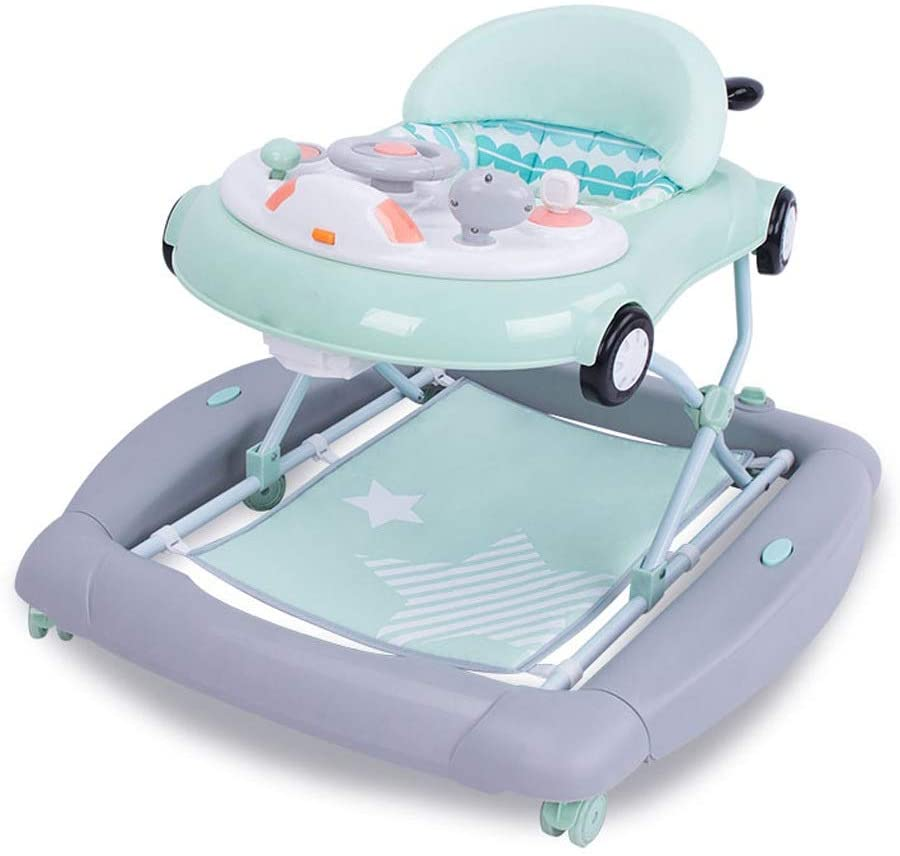 Moolo Baby Walker,Variable Rocking Horse Anti-o-Leg Multi-Function Rollover Folding Easy to Adjust Height Male Girl Child Can Push Learning