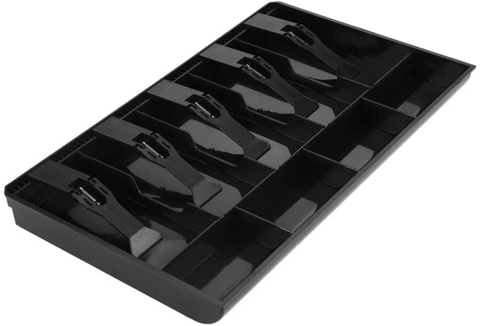 Cash Tray Drawer Register,Plastic Money Box, 5 Bills & 4Coins Tray Compartments Money Storage Box (Black)