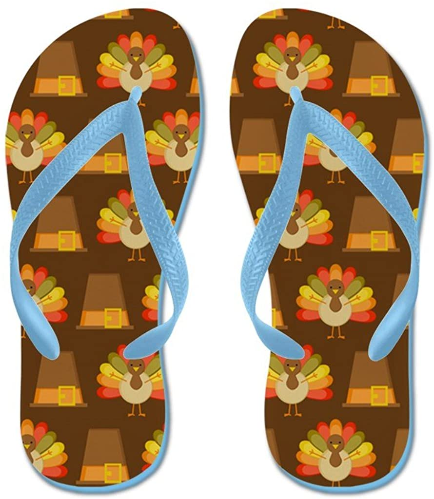 Lplpol Thanksgiving Turkey and Pilgrim Flip Flops Flip Flops for Kids and Adult Unisex Beach Sandals Pool Shoes Party Slippers