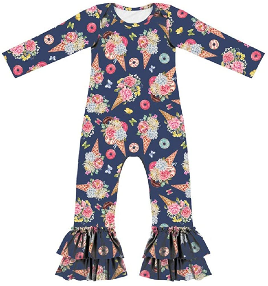 AMMENGBEI Baby Girls Ruffle Jumpsuit Pants Long Sleeve Romper Bodysuit Birthday Outfits
