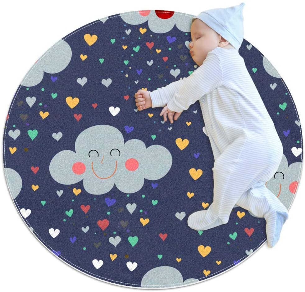 Clouds Love Lovely Baby Area Rug Home Decorative Carpet Soft and Washable Pad Non-Slip for Kid's Toddler Infants Room 3feet 3.4inch