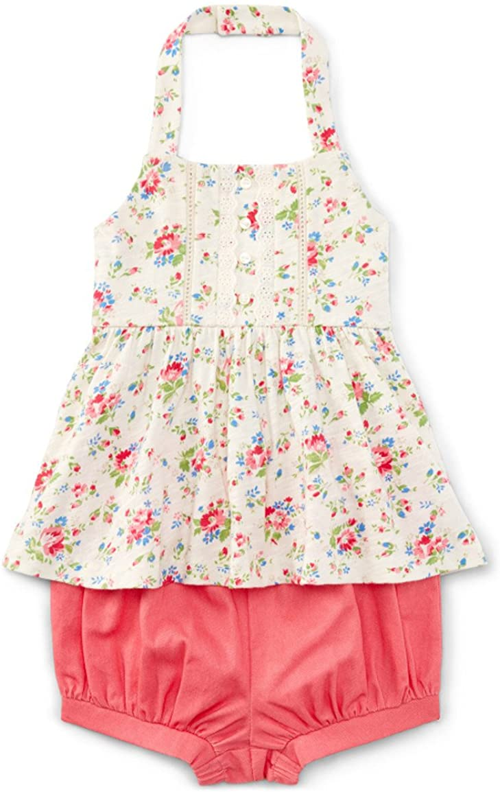 Ralph Lauren Baby Girls Floral-Print Halter Top & Bloomer Set Cream Mutli
