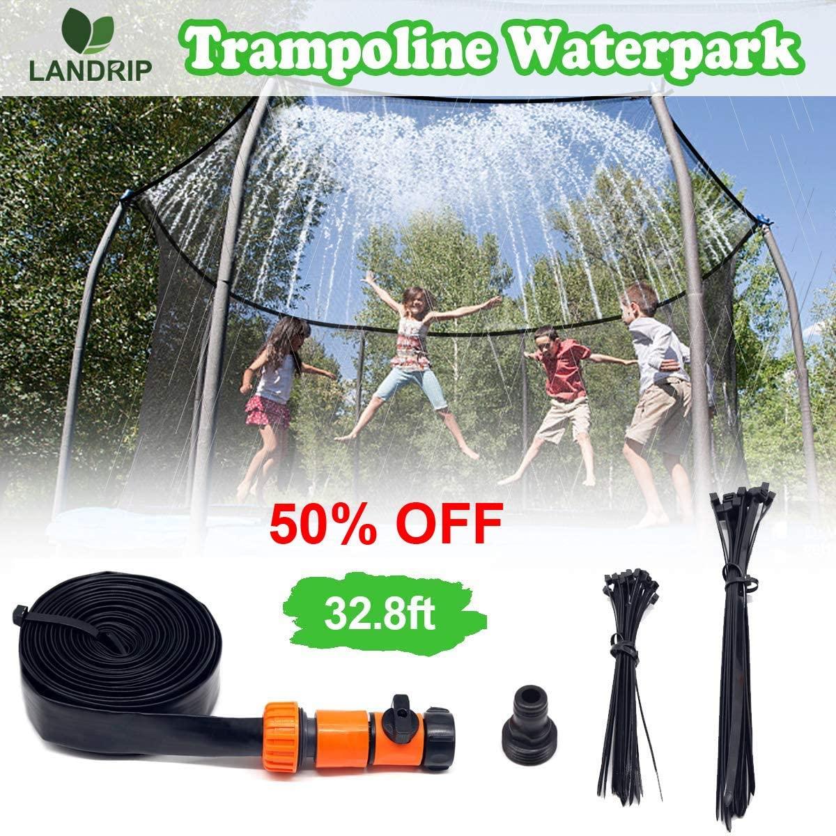 Landrip Trampoline Sprinkler,Trampoline Spray Water Park Fun Summer Outdoor Kids Water Sprinkler Game Toys Trampoline Accessories(32.8 Feet)