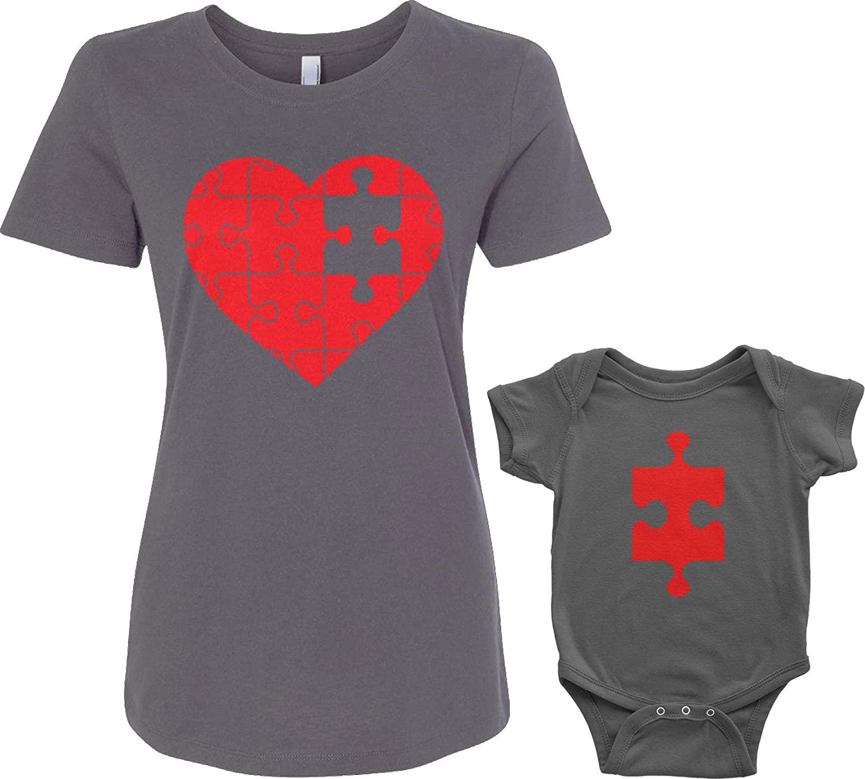 Threadrock Heart & Missing Piece Infant Bodysuit & Women's T-Shirt Matching Set (Baby: 24M, Charcoal|Women's: XL, Charcoal)