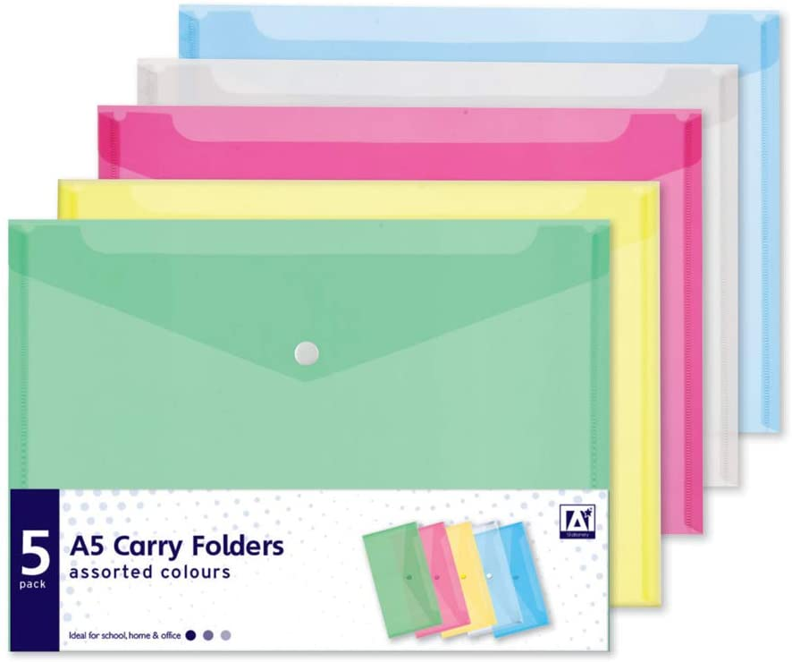 A5 Carry Folders 5 Pack Mixed Colours Document Popper Stud Wallets