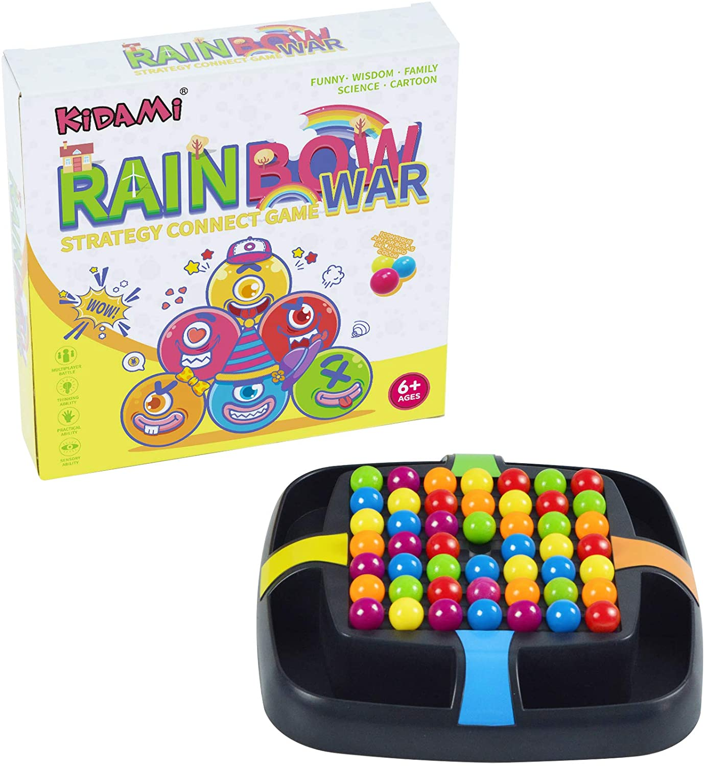 KIDAMI Strategy Connect Game, Travel Game, Line Up Colorful Balls, Brain Tease, Lightweight and Portable, Best Gift for Kids and Children ( Rainbow War )