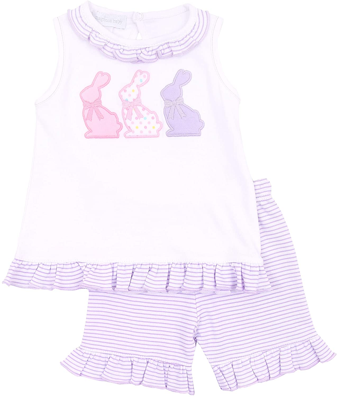 Magnolia Baby Baby Girl Bunny Applique Ruffle Short Set Pink