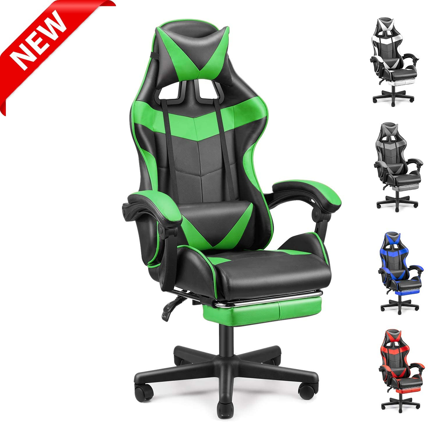FERGHANA PC Gaming Chair,Racing Chair for Gaming,Computer Chair,E-Sports Chair,Ergonomic Office Chair with Retractable Footrest and Adjustable Headrest and Lumbar Support(Jungle Green)