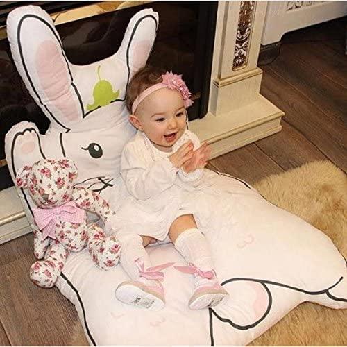 ZQ&QY 100% Cotton Cartoon Baby Rug,Kids Soft Cotton Cushion Outdoor Rabbit Mat-b 120x65cm(47x26inch)