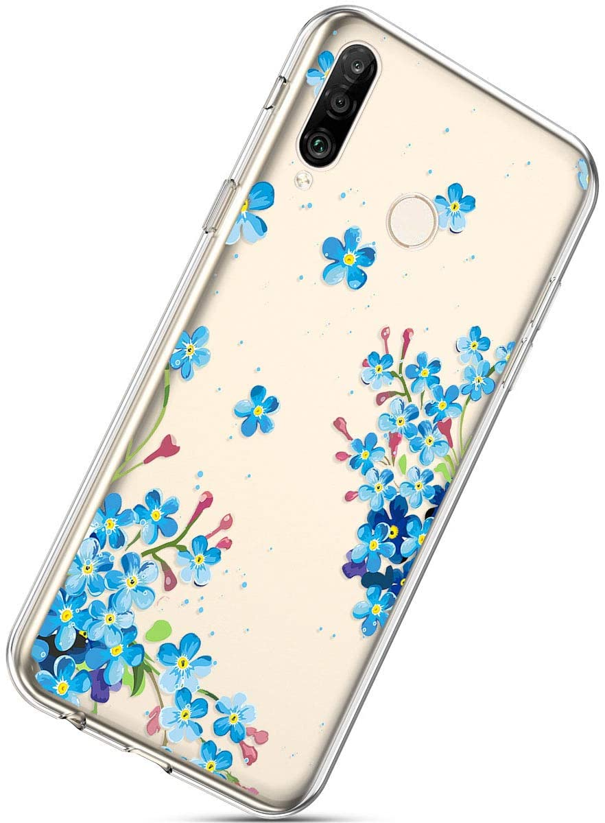 Herbests Compatible with Huawei P30 Lite Flower Case Girls Men Clear Design Thin Slim Fit Soft Flexible Crystal Transparent Silicone Rubber TPU Back Cover,Floral Blue