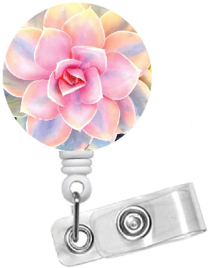 Pink Succulent Flower Retractable ID Name Card Badge Holder - Pretty Badge Reel - Nursing Badge - Teacher Badge Reel - Medical Badge - Unique Gift (Belt Slide Clip)