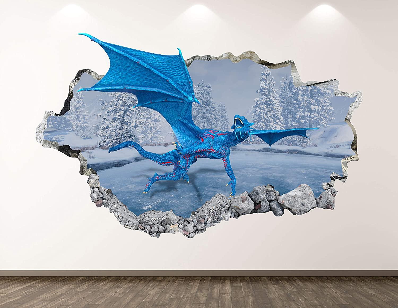 West Mountain Fantasy Dragon Wall Decal Art Decor 3D Smashed Magic Sticker Mural Kids Room Custom Gift BL99 (22