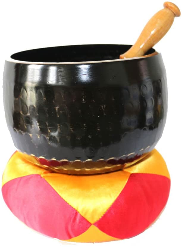 Welike Tibetan Copper Singing Bowl Set for Chakra Meditation with Cushion and Wooden Striker 6 Inch