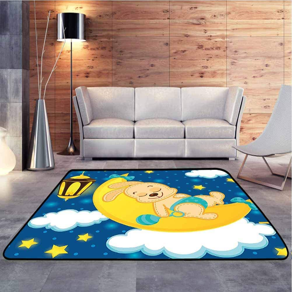 Multicolored Area Rug Baby Rabbit Sleeping on The Moon Clouds Stars Night Sky Illustration Blue White Baby Crawling Mat for Living Room Nursery, 6 x 9 Feet