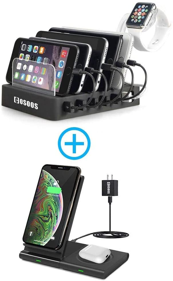 6 Port USB Charging Station and Detachable Dual Qi Wireless Charger