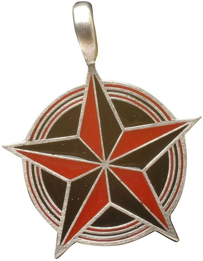 Zoelibat 97204241.112Gothic Punk Silver Pentagram, 4x 3.5cm Red/Black