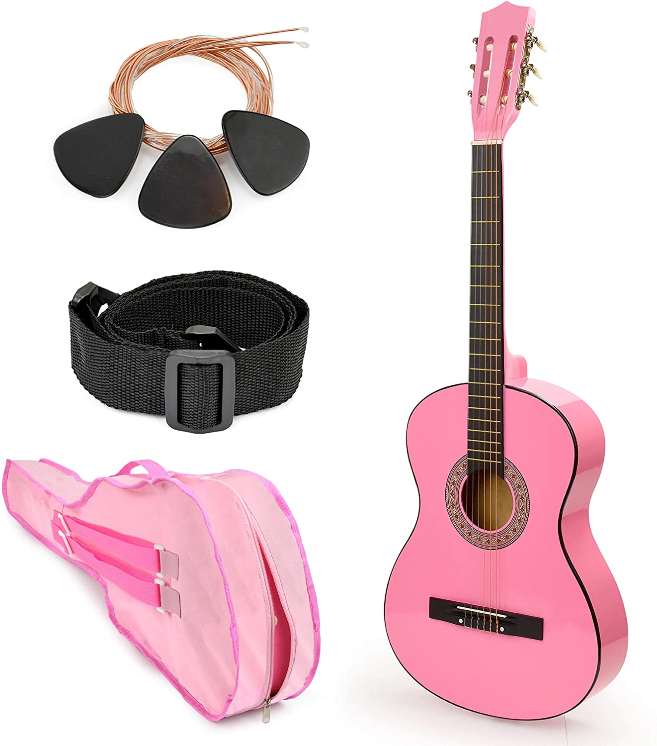 Pink Wood Guitar with Case and Accessories Great Gift for Kids/Girls/Beginners (38
