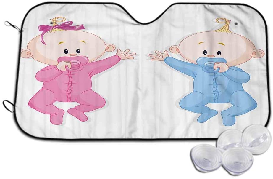 TableCoversHome Windshield Sun Shade 1-Piece,Babies with Pacifiers Provides Maximum UV and Sun Protection,W30 x L55 inch