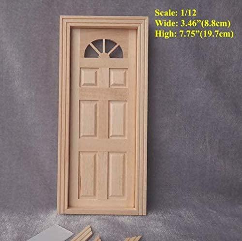DIY 1/12 Scale Dollhouse Miniature Federal Revival Wood Door Baroque Door Front Door; Wide 8.8cm, High 19.7cm