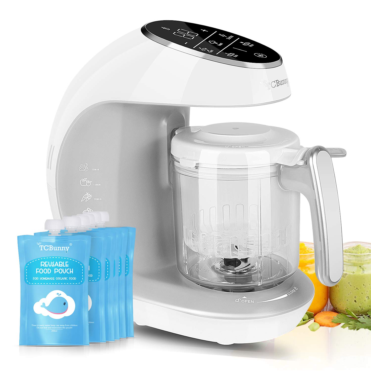 TCBunny Baby Food Maker Processor | 7 in 1 Meal Station with Steam Cooker, Blender, Chopper, Defroster, Reheater, Disinfector, Auto Cleaning Function, 20 Oz Tritan Stirring Cup, White