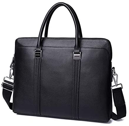 HkFcle Leather Shoulder Bag 14 inch Computer Bag, Leather Tote Bag, Men's Office Travel Weekend