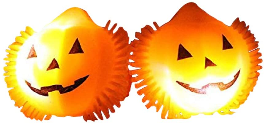 The Electric Mammoth Light Up LED Flashing Halloween Party Rings - Set of 12 (Pumpkins)