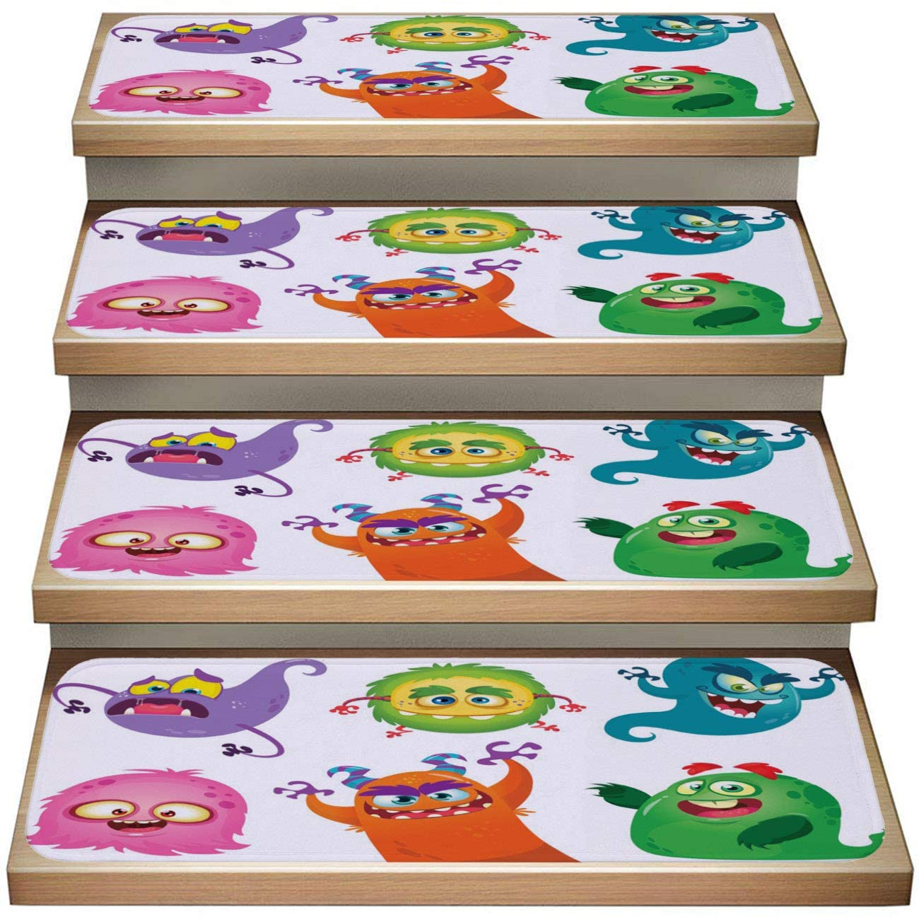 Cartoon 13-Pack Non-Slip Stairway Carpet Rugs,Cartoon Monsters Collection Vector Set of Cartoon Monsters Isolated,Soft Stair Mat Rotection Kids, Elders, and Dogs Safety
