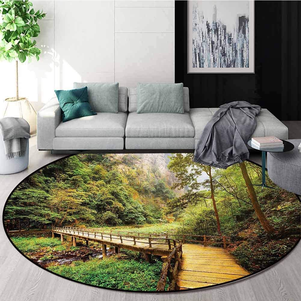 RUGSMAT Landscape Dining Room Home Bedroom Carpet Floor Mat,Mountain Over The River Kids Teepee Tent Game Play House Round Diameter-71