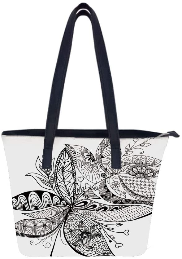 Arabesque Stylized Flower Women Leather Laptop Tote Office Shoulder Handbag Computer Briefcase