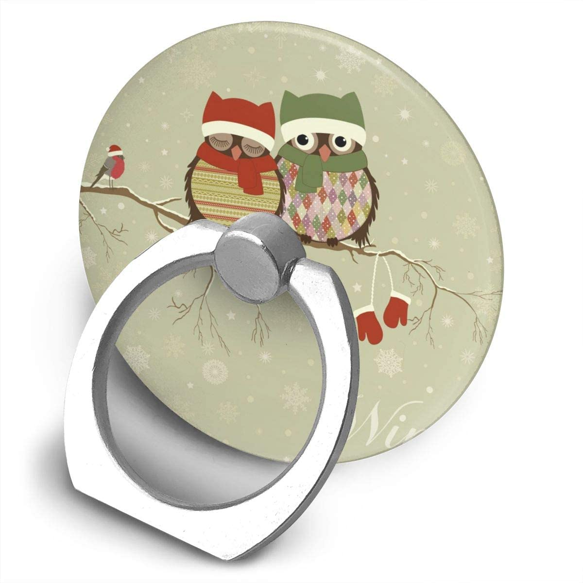 Universal Phone Ring Holder Cute Animal Christmas Owls in Winter Round Cell Phone Ring Stand Adjustable 360°Rotation Finger Kickstand Grip-Silver Mobile Phone Stand for Women Kids Men Ladies Smartpho