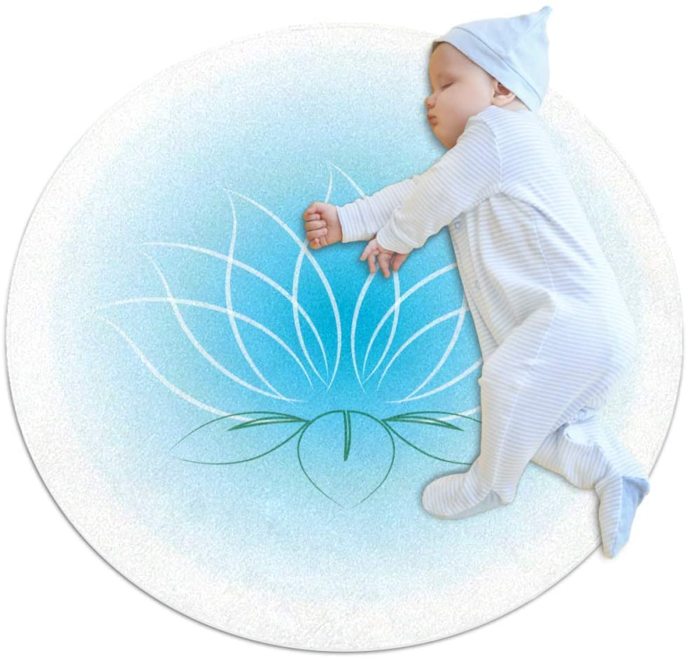 Blue Flower Nursery Round Rug for Kids Room Soft and Smooth Suede Surface Non-Slip Castle Tent Game Mat Best Gift for Your Kids 2feet 3.5inch