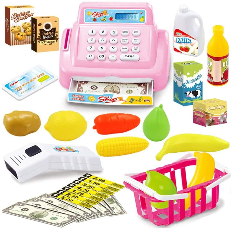 HGYYIO 26Pcs Cash Register Set with Sound Pretend Play Toys Kids, with Calculator Function Intelligent Recognition, for Children Over 3 Years Old