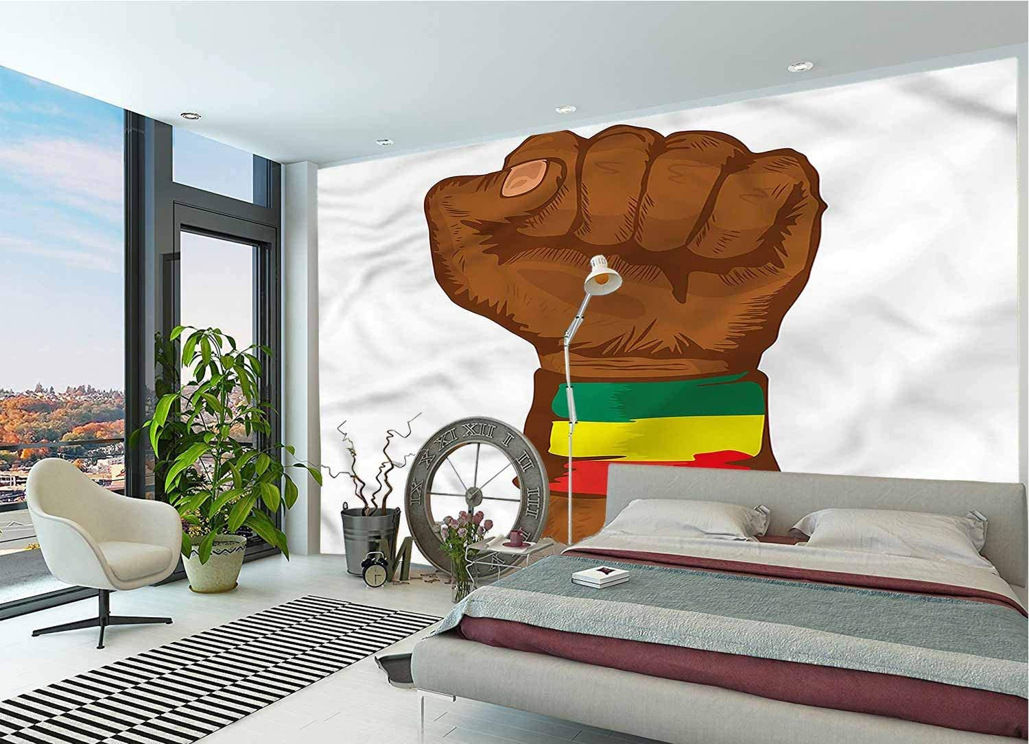 LCGGDB Rasta Large Wall Mural,Ethiopian Flag Colors Removable Large Sticker Foil Wall Decor for Office Kids Bedroom Nursery Family Decor-78x55 Inch