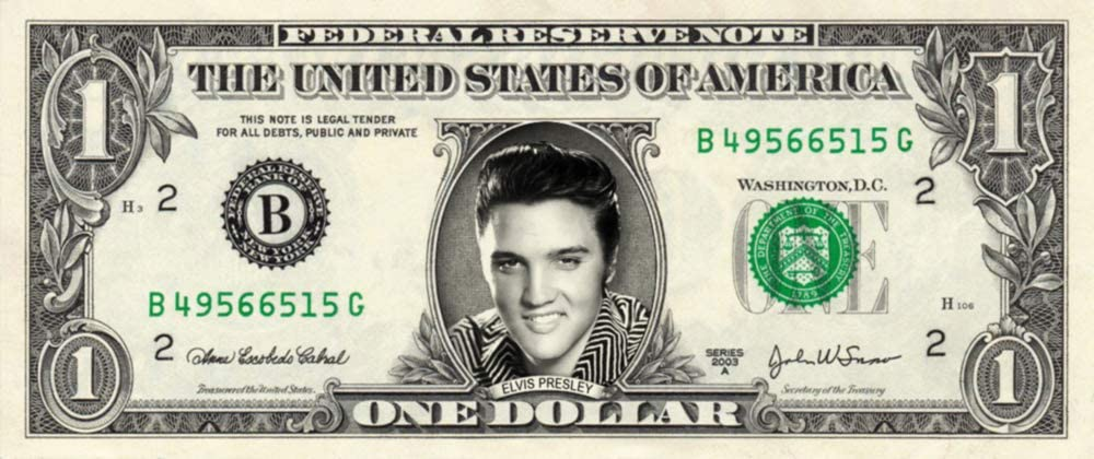 ELVIS PRESLEY on a Real Dollar Bill Collectible Cash Money Rare Mint $1