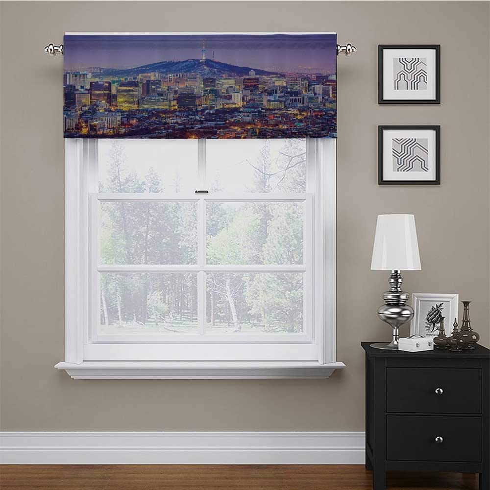 carmaxs Valances Window Treatments Modern for Kids Room/Baby Nursery/Dormitory Skyline of Seou South Korea Cityscape with Buildings Skyscrapers Urban View at Night 42 x 18 Multicolor