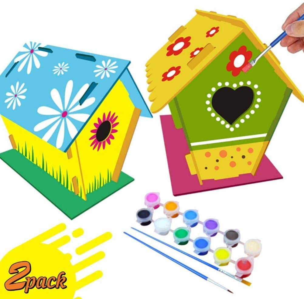 Taykoo DIY Bird House Kit Crafts, Suitable for Children Aged 4-10-2 Packs-Build and Paint Bird Houses (Including Paint, Brushes)-Wooden Art for Girls, Boys, Toddlers, Design Your Own Wooden Bird